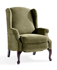 Queen Anne-ish wingback-ish recliner. In russet, though, not green!