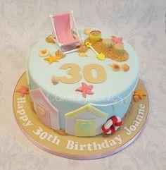 Beach themed 30th Birthday Cake #beach #cavendishcakes #wirral