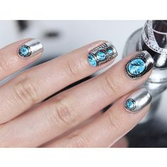 """""""Everyone loves silver rings with turquoise stones, right? I made this freehanded nail art for #wnac2015 'Turquoise pattern' theme. The base is @opi_products Push and Shove and the details are painted with acrylic paints. #nailartwow #nailitdaily #nails2inspire #polishlicious #nailpromote #nailfeature #sgnailartpromote #nailartoohlala"""" Photo taken by @glitterfingersss on Instagram, pinned via the InstaPin iOS App! http://www.instapinapp.com (06/19/2015)"""