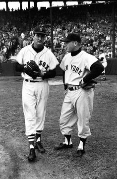 Ted Williams and Micky Mantle Mlb Players, Baseball Players, Boston Sports, Boston Red Sox, The Mick, Red Sox Nation, Nationals Baseball, Baseball Pictures, Mickey Mantle