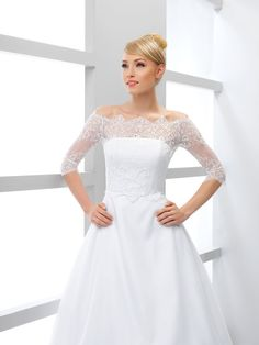 This feminine lace top makes a gorgeous addition to your strapless wedding dress. Beautiful lace top is unique, made with care to every detail.  Available in all sizes and both in ivory and white.  --------------------------------------------------------------------- To see more bridal boleros click here -> https://www.etsy.com/shop/MeshkaBridal?section_id=16939267&ref=shopsection_leftnav_2  ♡ ♡ ♡ Looking for bridal clutches or some cute custom bridesmaids gifts? Please check my other etsy…