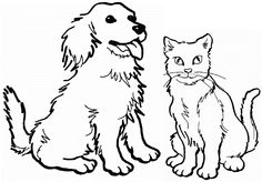 puppies and kittties Coloring Pages