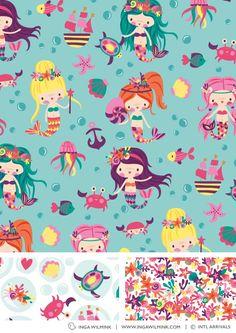 Inga Wilmink for International Arrivals - Mermaids Wallpaper Kawaii, Owl Wallpaper, Textures Patterns, Print Patterns, Mermaid Illustration, Android Theme, Unicorns And Mermaids, Quirky Art, Cute Mermaid