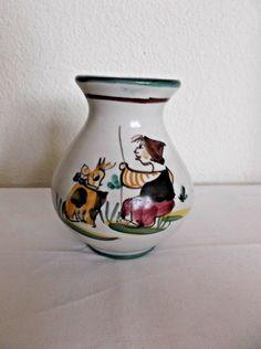 """Vintage Vietri Ceramic Vase, Goat & Shepherd Boy Italy, 3 7/8"""" H, Green Rim…"""