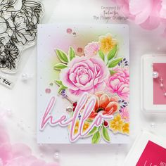 The Flower Challenge #56 – Use Your Favorite Flower – rainbow in november Script Words, Cosmos Flowers, Gold Watercolor, Peach Blossoms, Botanical Illustration, Bubble Gum, Hello Everyone, I Card, Card Stock