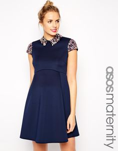 Image 1 ofASOS Maternity Debutante Prom Dress with Embellished Collar and Sleeves