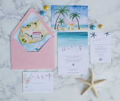 Custom watercolor beach wedding invitations with a handpainted wedding map envelope liner of Fort Zachary Taylor in Key West. Beach Wedding Makeup, Beach Wedding Colors, Beach Wedding Guests, Beach Wedding Attire, Boho Beach Wedding, Beach Wedding Decorations, Beach Wedding Invitations, Wedding Invitation Suite, Invitation Cards