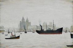 """The Liver Buildings, Liverpool"".A rare painting of Liverpool waterfront by L. Liverpool Waterfront, Liverpool Docks, Liverpool History, Liverpool Home, Liverpool England, English Artists, British Artists, River Painting, Building Painting"