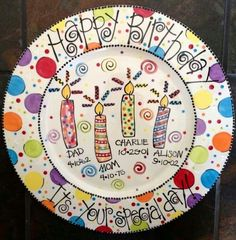 Color Me Mine: Family Birthday Platter - Lori Dodson Designs. Sharpie Projects, Sharpie Crafts, Sharpie Art, Craft Projects, Pottery Painting, Ceramic Painting, Painted Pottery, Birthday Plate, Birthday Fun