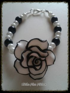 Gorgeous White and Black Flower Bracelet - The Supermums Craft Fair