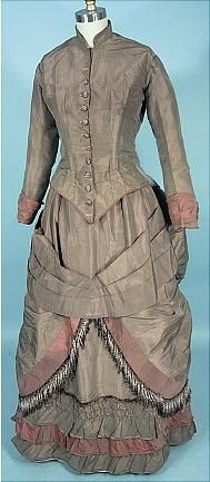 Victorian Dress - c. 1883/1884 Olive Colored Silk Taffeta Bustle Wedding Gown!