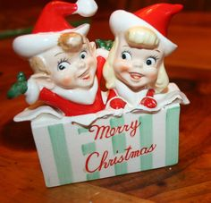 VINTAGE CHRISTMAS ELVES MERRY CHRISTMAS PRESENT BOX   HOLT HOWARD ?