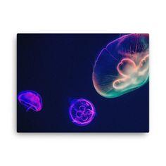 Neon Jellyfish Canvas Print - 18×24