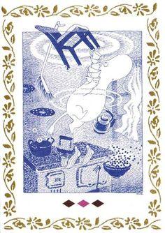 Muumi - leijuntaa keittiössä - Perromania - pieni postikorttikauppa - 1,10e