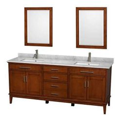 Wyndham Collection Hatton 80 Inch Double Bathroom Vanity In Light Chestnut White Carrera Marble Countertop Undermount Square Sinks And 24 Mirrors