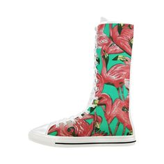 D-Story Flamingo Lace Up Tall Punk Dancing Canvas Long Boots Sneakers Shoes for Women Flamingo Shoes, High Top Sneakers, Shoes Sneakers, Long Boots, Canvas Sneakers, Converse Chuck Taylor, Rubber Rain Boots, Lace Up, Footwear