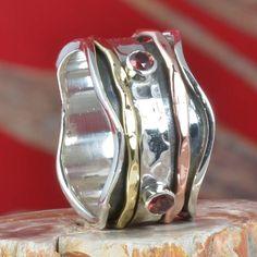 925 SOLID STERLING SILVER GARNET CUT SPINNER RING 8.19g DJR11302 SZ-7 #Handmade #Ring