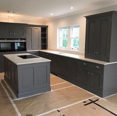 We love a kitchen painted completely in Lead Colour 118 so much so we couldnt wait to share it. Installation now complete and a photo Living Room Kitchen, Home Decor Kitchen, Rustic Kitchen, Interior Design Kitchen, Home Kitchens, Kitchen Ideas, Wicks Kitchens, Primitive Kitchen, Modern Kitchens