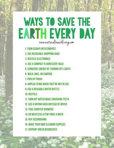 Easy Ways to Save the Earth Every Day Easy Ways to Save the Earth Every Day, Going green can be easy with a few simple changes. There are little things you can do every day to help reduce gases, help with pollution and make a less harmful impact on Save Planet Earth, Save Our Earth, Save The Planet, Save Earth Save Life, Green Life, Go Green, Save Mother Earth, Save Environment, Earth Day Crafts