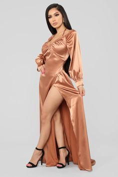 I Like Shinin' Maxi Dress - Bronze – Fashion Nova Fashion Nova Curve, Fashion Nova Models, Fashion Brands, Satin Dresses, Sexy Dresses, Sexy Outfits, Fashion Outfits, Womens Fashion, Actrices Sexy