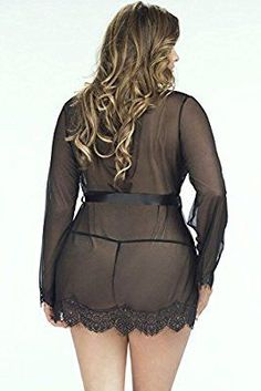 2016 Women Sexy Lingerie Plus Size Lace Trim Robe With Thong Set Dress Curvy Girl Lingerie, Plus Size Lingerie, Sexy Lingerie, Cheap Lingerie, Lingerie Sets, Sexy Outfits, Sexy Dresses, Plus Size Blog, Ropa Interior Babydoll