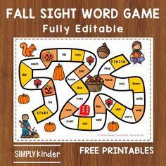 Free printable sight word game for kindergarten kids. This free fall themed game is fully editable and perfect for fall literacy centers. Kindergarten Sight Word Games, Kindergarten Freebies, Sight Word Activities, Teaching Kindergarten, Word Games For Kids, Free Printable Numbers, Sight Word Centers, Sight Words Printables, Literacy Centers
