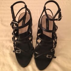 Strappy Zara Heels These are gently worn Zara black strappy heels. There are a few scuff marks. (Ask for photos) they are not notice able only if looked up close. But these are a perfect pair of shoes and comfortable. Zara Shoes Heels