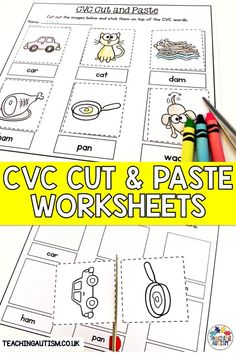 Do your students need to work on their CVC words? Are you looking for no prep worksheets that work on fine motor skills? Your kids will love these cut and paste CVC worksheets! Cvc Worksheets, Cut And Paste Worksheets, Reading Worksheets, Rhyming Activities, First Grade Activities, Teaching First Grade, Classroom Activities, Autism Teaching, Autism Classroom