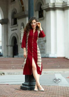 Buy this voguish cream and red embroidered kurti for ladies. It is abstract with sleeves and v neck in georgette. Wedding Jumpsuit, Lace Jumpsuit, Long Kurtis, Embroidered Kurti, Bollywood Outfits, Indian Wedding Wear, Kurti Patterns, Printed Kurti, India Fashion