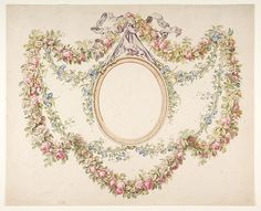 Floral Swags Framing an Empty Oval. Artist: Attributed to Jean Pillement (French, Lyons Date: n. Medium: Pen and brown ink, brush and brown wash. Dimensions: 11 x 14 in. Vintage Wall Art, Vintage Frames, Vintage Paper, Vintage Postcards, Vintage Prints, Vintage Labels, Vintage Pictures, Stencils, Clip Art