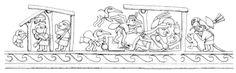 Sobre relieve de ceremonia de cópula entre Cara Arrugada y una mujer. Museo de Arqueología, Antropología e Historia, Universidad Nacional de Trujillo, Trujillo. Dibujado por Jorge Sachún | Sexualidades Mochicas