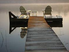 adirondacks chairs on the dock
