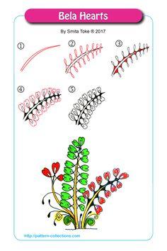 Bela Hearts by Smita Toke Zentangle Drawings, Doodles Zentangles, Doodle Drawings, Easy Drawings, Tangle Doodle, Tangle Art, Zen Doodle, Doodle Art, Doodle Patterns