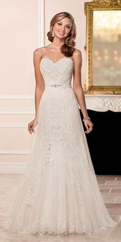 Stella York Strapless Sweetheart Lace Wedding Dress style 6431 b / http://www.deerpearlflowers.com/stella-york-fall-2016-wedding-dresses/3/
