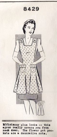 1940s Misses Full Apron Flower Pot Pockets Vintage Sewing Pattern, Mail Order Pattern 8429 bust 32""