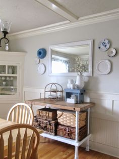 The Wicker House: Hanging Plates in our Dining Room
