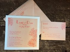 Custom coral invitation