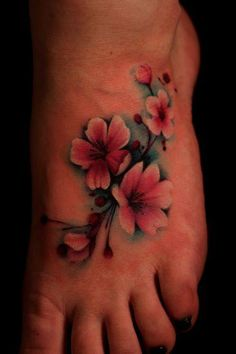 Foot cherry blossoms Pretty pastel pink and white colored cherry blossoms tattooed on a brown branch with a sky blue background on a foot. Small cherry blossom flower tattoo on foot Backgrounds around a tattoo design can make all the difference. Pretty Tattoos, Beautiful Tattoos, Cover Up Tattoos, Body Art Tattoos, Flor Oriental Tattoo, Tattoo Fleur, Tattoo Foto, Cherry Blossom Flowers, Cherry Blossom Tattoos