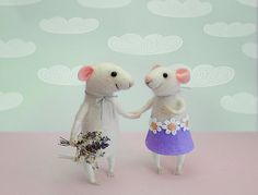 Needle felted mouse Couple Mice Cake topper von MollyDollyNatural