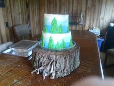 A graduation cake for a young lady going into forestry, this was based on a cake I pinned to a board called Shelby's forest cake.  This wasn't the greatest picture, but I though it turned our well.  The log was a little crooked, but the cake was straight.