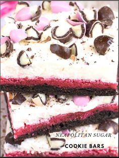 Layers of chocolate, strawberry, and vanilla make these Neapolitan Sugar Cookie Bars a fun dessert. Save time in the kitchen by making and frosting these easy cookies in one pan #delicious #cookie #dessert #yummy Strawberry Syrup, Sugar Cookie Bars, Gel Food Coloring, Fun Cookies, Fun Desserts, Frosting, Vanilla, Good Food