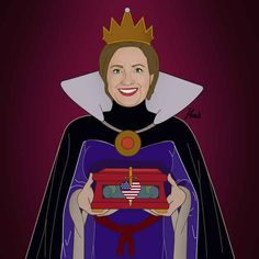 Hillary Clinton as The Evil Queen from Snow White and the Seven Dwarfs . | 13 Global Politicians As Disney Villains