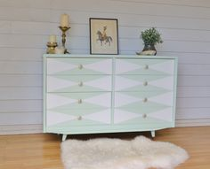 Retro Mid Century Pastel Mint Chest of Drawers with White Geometric Feature on Drawers. www.rawrevivals.com.au