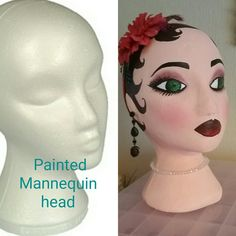 Hand painted polystyrene head Painting Styrofoam, Styrofoam Head, Hat Display, Witch Wreath, Friend Crafts, Head Planters, Quick Crafts, Hat Stands, Mannequin Heads