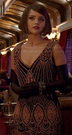 Clara Osgood dressed in a beautiful beaded 20's flapper girl gown for one of her adventures with the Doctor, on Doctor Who's MUMMY ON THE ORIENT EXPRESS (2015)