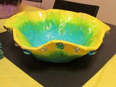 """Chihuly-inspired paper mache bowl by my 5th grade student; approx. 14"""" wide; lesson by art teacher: Susan Joe"""