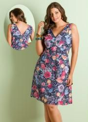 Vestido Decote V (Floral) Plus Size