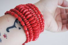 BRACELET Red wooden  Bracelet Bohemian Jewelry   #necklace #accessories #women #bracelet #necklace #earrings  #woman #gifts #bodyjewelry #boho #gifts #trends  #Spring #fashion #wedding #bridal #barefootsandal #anklet