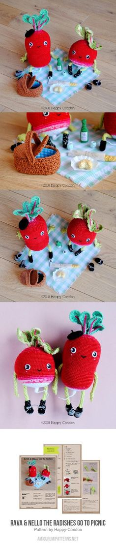 Rava & Nello The Radishes Go To Picnic Amigurumi Pattern
