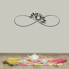 "Infinity Sign Vinyl Wall Decals Lotus Flower Sticker Namaste Symbol For Living Room Bedroom Home Yoga Studio Decor ✦ Available sizes (approximate):  Please note that images may not reflect exact size.  10"" tall x 33"" wide 15"" tall x 50"" wide  20"" tall x 67"" wide  If you need a different size, please feel free to ask. Prices may vary.  ✦ Choose the color of your decal from our color chart shown in last image of this listing. And leave the message during check out or in the order note.  Color…"